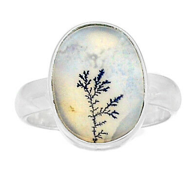 Scenic Dendritic Agate 925 Sterling Silver Ring Jewelry s.7.5 SDAR770