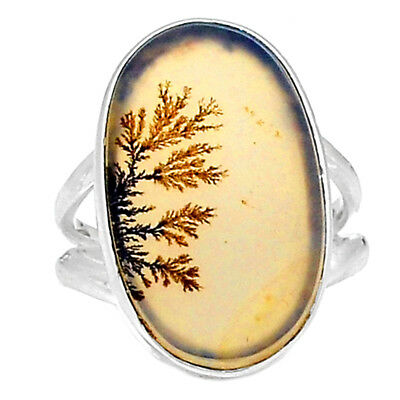 Scenic Dendritic Agate 925 Sterling Silver Ring Jewelry s.7 SDAR717