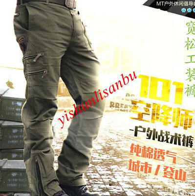 New Spring Stright Mens Jeans Casual Breathable Multi Pocket Military Pants 2018