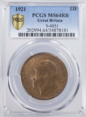 1921 Great Britain 1 Penny PCGS MS64RB S-4051, PCGS Gold Shield