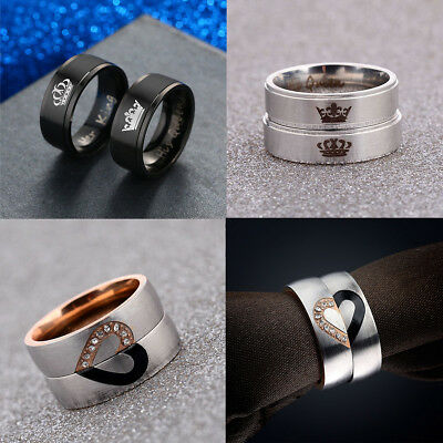 His Queen And Her King Heart Titanium Steel Rings Lovers Couple Wedding Rings