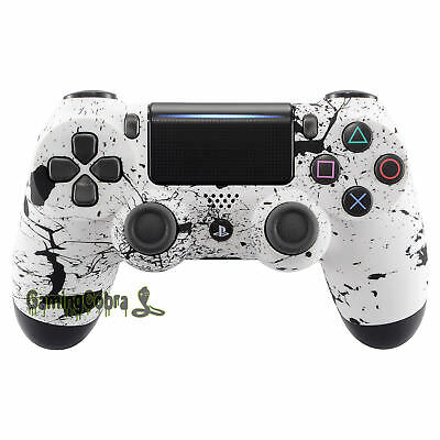For PS4 Pro Slim Controller Replace Mod Front Shell White Ink Soft Grip JDM-040