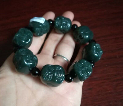 Chinese Hand Carved jade Buddha head Bead Natural  Hetian jade  Bracelet