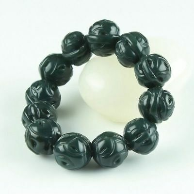 Chinese Hand Carved jade Bead Natural  Hetian jade  Bracelet
