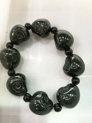 Chinese Hand Carved Buddha head Bead Natural jade Hetian jade  Bracelet