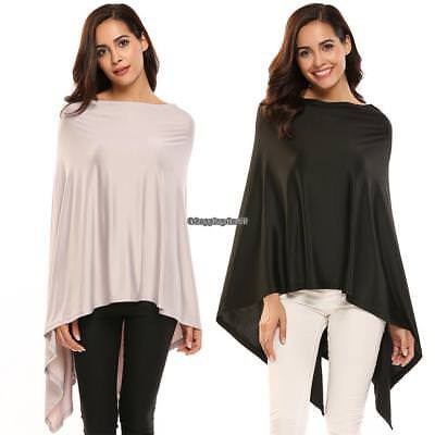Women Spring Casual Asymmetric Solid Knit Short Cover-up Poncho Topper 3 Colors
