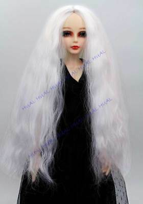 """7-8"""" 1/4 BJD Wig Wavy Wave Curly SD LUTS Doll White DZ DOD Hair Long HUAL-7#"""