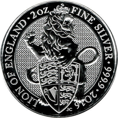 2 oz Queen´s Beast Lion of England - 2016 - 62,2g 999/1000 ag Silber