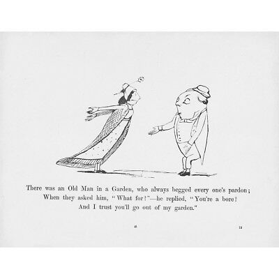 EDWARD LEAR Limerick - There Was an Old Man in a Garden - Antique print 1897