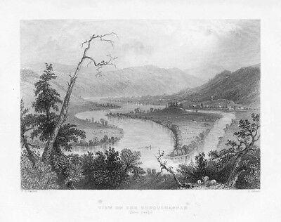 View on the Susquehanna above Owego - Antique Print 1840 by Bartlett
