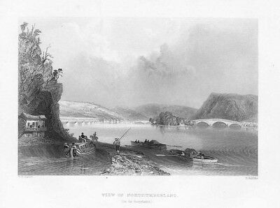 View of Northumberland on the Susquehanna - Antique Print 1840 by Bartlett