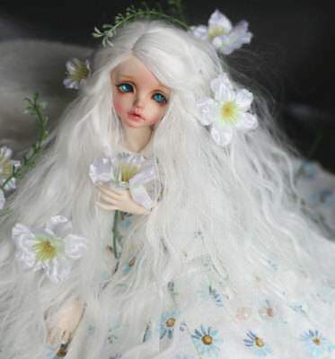 """8-9"""" 1/3 BJD Long Pure Snow White Curly Wavy Wig LUTS Doll DOD Hair HUAL"""