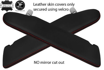 Red Stitch 2X Sun Visor Leather Covers For Vw T5 Transporter No Mirror Cutout