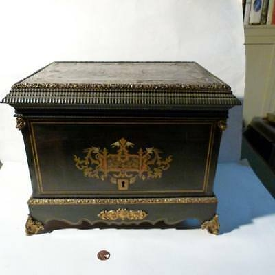 French 19thC Walnut Brass Inlaid Boulle Liqueur Table Box Cabinet EMPTY