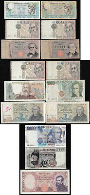ITALY, PAPER MONEY (PRE-EURO) – FIFTEEN BANKNOTES: 500 to 10000 LIRA