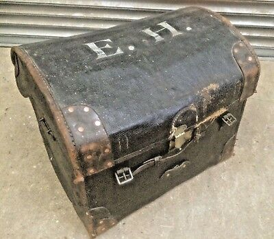 Old antique Wm Whiteley Army & Navy dome top leather car steamer storage trunk