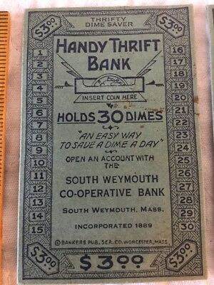 2 Antique Handy Thrift Bank 30 Dimes Savings Cards South Weymouth Co-Operative