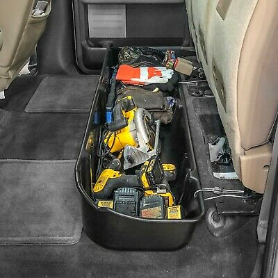 Underseat Storage Box for 2009-2014 Ford F-150 Super Crew Cab w/o Subwoofer Blk