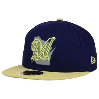 cheap for discount 3b610 918f5 ... usa milwaukee brewers new era mlb state reflective redux cap hat flat  bill fitted wi 06299