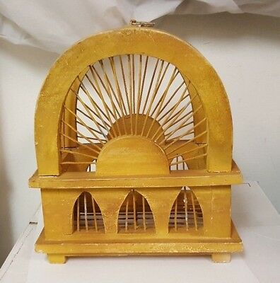 Vintage Wooden Home Decor Decorative Wooden Hanging Bird Cage 9""