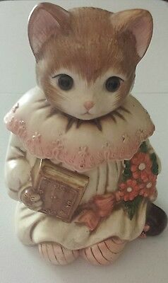 Vintage French Victorian Emily Kitty Cat Pink Ceramic Cookie Jar Japan nice