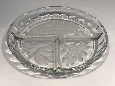 Vintage Indiana Glass Constellation Frosted Vegetable Relish Tray Divided Dish