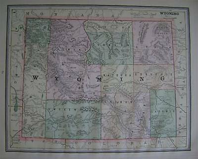 1889 Wyoming Original Antique Color Atlas Map** with index .. 129-years-old!