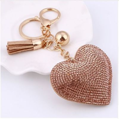 Love Heart Crystal Key Chain Keyring Handbag Charm Tassel Gold Bag Ring