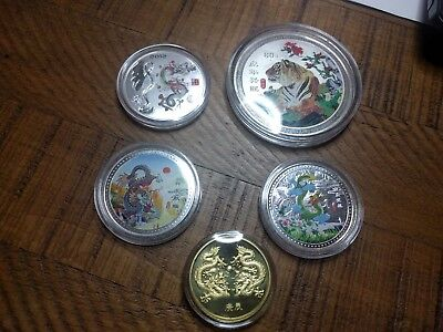 Year Of The Dragon And Tiger Silver Plated And Dragon Gold Plated Coins