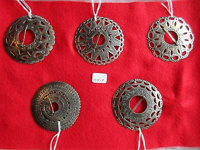 """Hudson Bay, Fur Trade Silver Brooches, Engraved """"hb"""" Marked Set Of 5 # Buf-01517"""
