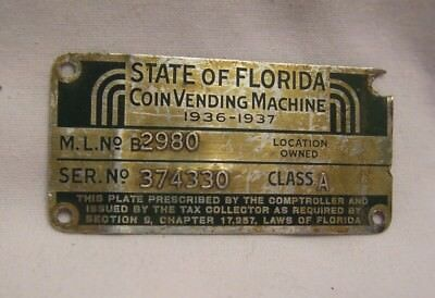 1936 State of Florida Coin Vending Machine Class A Serial Plate