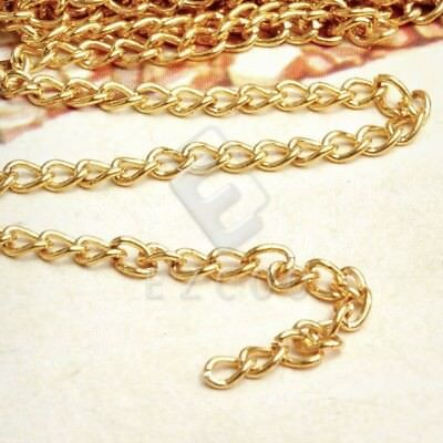 4m Unfinished Bulk Chains Necklace DIY Wholesale Gold Curb Chain 0.8x3x4mm YB