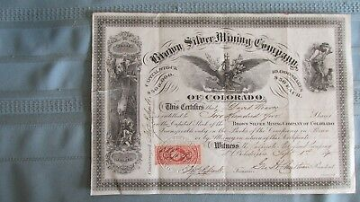 1870 Colorado Territory Brown Silver Mining Stock-Signed-Uncancelled-Clear Creek