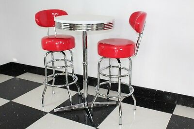 Etonnant American 50s Diner Furniture Claw Base Bistro Set With 2 Red Bar Stools