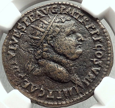 TITUS Authentic Ancient 80AD Roman DUPONDIUS Eastern Mint Coin ROMA NGC i67868