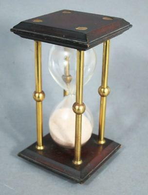 VINTAGE MAHOGANY AND BRASS HOURGLASS HOUR GLASS Sand Clock Timer ship boat yacht