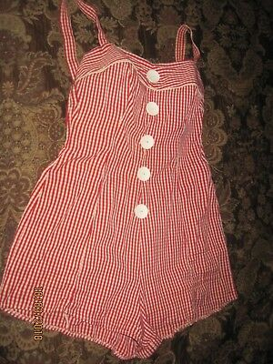 VTG 1940-50s COLE OF CALIFORNIA ORIGINAL ONE PIECE PIN-UP SWIMSUIT RED GINCHAM