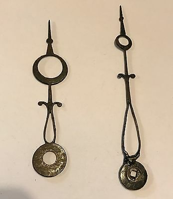 Pair Of Antique Steel Clock Fingers  for longcase grandfather clock 19th century