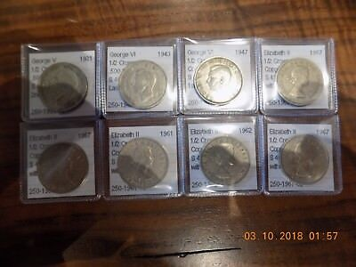 British Half Crown Collection - 8 Coins from 1931 to 1967 - w/ 2 Silver Coins!