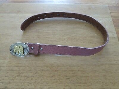 Nice Girls Nooona Pink Leather Belt With Horse On Buckle