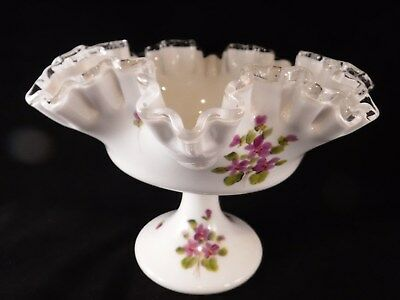 Vintage Fenton Milkglass Hand Painted Compote Violets In Snow Bowl Dish