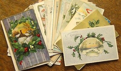 Lot of 30 ALL Christmas Antique Vintage Postcards--very good conditions!