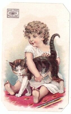 James Pyles Pearline Soap Girl Cat VTC Victorian Trade Card New York NY g