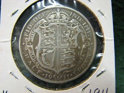 1911 Great Britain UK  1/2 Crown SILVER Coin  Gorgeous HIGH GRADE Silver Coin !
