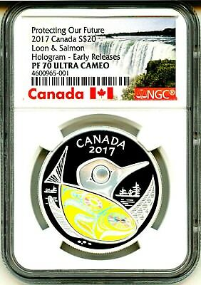 2017 Canada S$20 Protecting Our Future Loon & Salmon Hologram ER NGC PF70 UC