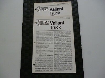 2 Coles Cranes Valiant Truck Assorted/mixed Technical Specification Leaflets