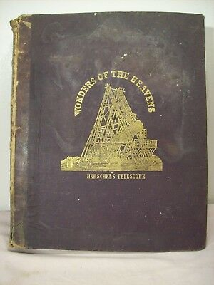 1843~The Wonders Of The Heavens~Herschel's Telescope~Rare Antique Astronomy Book