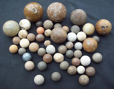 Dug Big Lot Of 50 Big Marbles Ceramic and Stone 1500's - 1800's