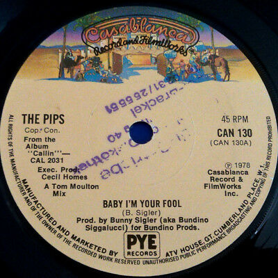 """The Pips: Baby I'm Your Fool, Single 7"""", UK 1978"""