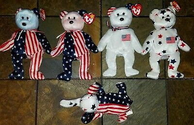 Ty Beanie Baby – Lot of 5 Patriotic Bears – 2 Spangles, Righty, Glory & America